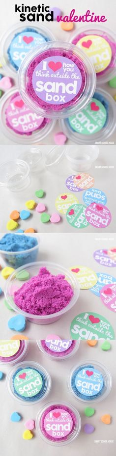 DIY Kinetic Sand Valentine with printable. A fun and easy non-candy Valentine idea for kids #indoorplayhouseeasy