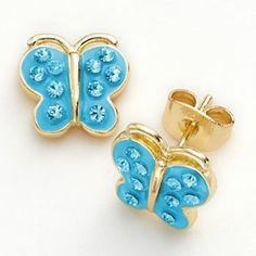 Junior Jewels Brass Crystal Butterfly Stud Earrings - Kids  Cute for flower girls!