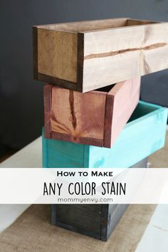 How to make stained wooden trough boxes! Easy tutorial and they only cost $5 each to make! You can make any color stain you want!