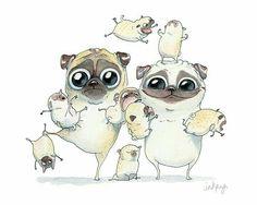 Pug family (my husband and me)