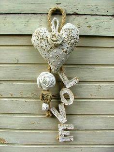 I Love Heart, Happy Heart, Valentines Day Hearts, Be My Valentine, Valentine Decorations, Valentine Crafts, Shabby Chic Hearts, Fabric Hearts, Heart Crafts