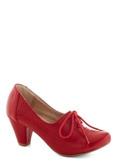 Right Here Heel in Red by Chelsea Crew - Red, Solid, Vintage Inspired, 20s, 30s, Mid, Faux Leather, Party, Work, Lace Up