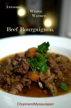 Beef Bourguignon, adapted from Guillaume Brahimi. Pinned from Chopin & my Saucepan.