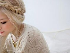 Braided crown for an easy shabby chic bohemian look. Fair skin and white blonde hair give an ethereal vibe to the look