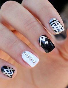 #nail #unhas #unha #nails #unhasdecoradas #nailart #gorgeous #fashion #stylish #lindo #cool #cute #fofo #black #preto #white #branco