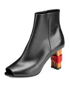 X3D52 Balenciaga Wooden-Heel Open-Toe Bootie, Noir