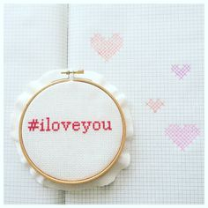I Love You cross-stitch for the hashtag-lovers, on embroidery hoop
