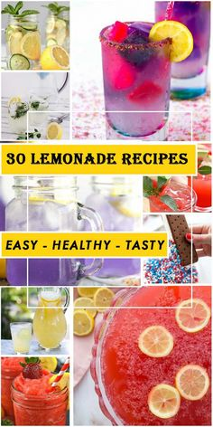 In hot days, it's great to enjoy cool glasses of lemonade to cool down, right? If you are looking for simple and delicious drink recipes, this post is for you. Today, we are happy to introduce 30 cool lemonade recipes. Fresh Mint Lemonade Recipe, Healthy Lemonade, Best Lemonade, Watermelon Lemonade, Homemade Lemonade, Cookout Food, Good Healthy Recipes, Yummy Drinks, Fresh Fruit