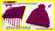 Cómo tejer gorros de lana en telar de cartón casero - YouTube