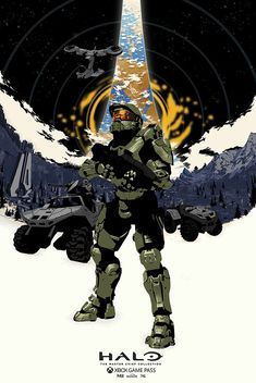 'Halo' print by Chris Thornley Master Chief And Cortana, Halo Master Chief, Halo Game, Halo 5, John 117, Halo Spartan, Halo Armor, Halo Series, Halo Reach