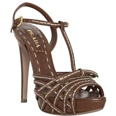 Prada Rosewood Stitched Leather T-Strap Platform Sandals T Strap Shoes, Ankle Strap Sandals, Heeled Sandals, Strappy High Heels, Strappy Sandals, Shoes Sandals, Brown Leather Sandals, Stitching Leather, Womens High Heels