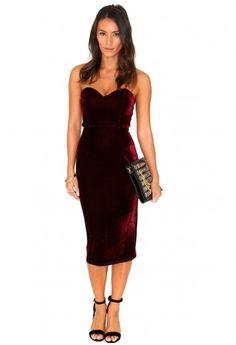 Missguided - Shanna Bandeau Velvet Midi Dress In Burgundy