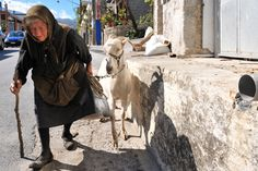 Old greek lady with her goat.