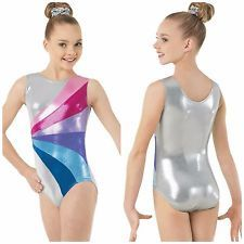NEW Silver Pink Purple Blue Foil Mystique Dance Gymnastics Leotard +Scrunchie