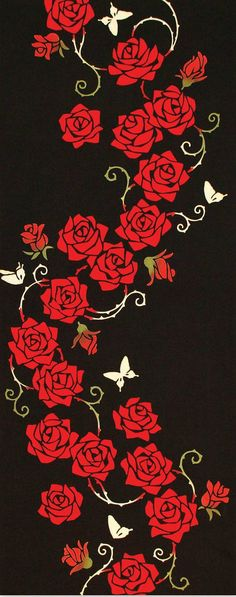 Japanese Tenugui Towel Cotton Fabric, Red Rose, Floral Design, Butterfly, Black, Hand Dyed Fabric, Modern Art Fabric, Home Decor, JapanLovelyCrafts