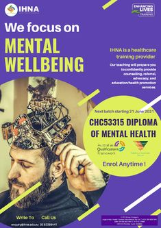 Mental well-being is the number one prerogative in today's world. Get the Diploma of Mental Health (AQF Level 5), and equip yourself with the skills to work with clients who have mental health issues. Learn to provide counselling, referral, advocacy, and education/health promotion services, and make a difference in the community! Nursing Australia, Director Of Nursing, Tertiary Education, Nursing Courses, Corporate Social Responsibility, Level 5, Mental Health Issues, Health Promotion
