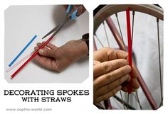 Decorating bike spokes with straws