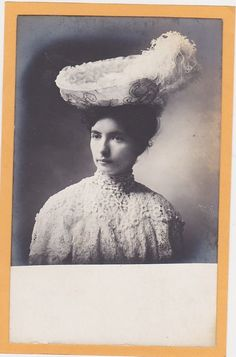 Studio Real Photo Postcard RPPC - Woman Wearing Lace Blouse & Fancy Feather Hat