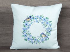 Light blue cross-stitch embroidered bird accent decorative throw cover ~ nature…