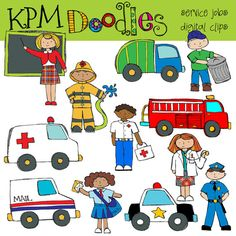 Community Service Digital Clip art - doodles - police car - trash truck-firetruck-ambulance-mail truck