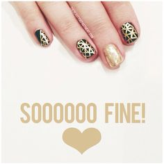 Black and gold patterned nails. I like the subtle matching gold on gold pattern.