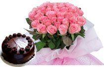 A Hamper Of 24 Pink roses Bunch 1/2 Kg cake.