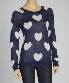 Another great find on #zulily! MAK Navy & White Heart Sweater by MAK #zulilyfinds