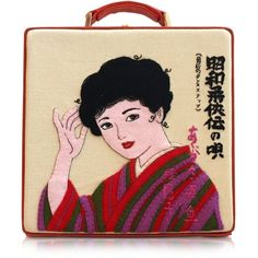 Olympia Le-Tan Handbags 7 Inch Kimono Lady Cotton Handbag ($1,740) ❤ liked on Polyvore featuring bags, handbags, fillers, red, purse bag, embroidered bags, embroidered purse, red hand bags and cotton bag