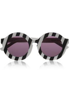 House of Holland Peggy striped round-frame acetate sunglasses NET-A-PORTER.COM