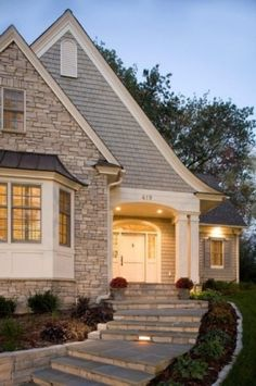 Cottage Exterior - traditional - exterior - minneapolis - by Stonewood, LLC Stone Exterior Houses, Cottage Exterior, Stucco Homes, Exterior Colors, Exterior Design, Exterior Shutters, Siding Colors, Future House, My House