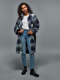 Plaid Shirt Jacket | Gap High Jeans, High Waist Jeans, Gap Women, Best Jeans, Blue Plaid, Wearing Black, Shirt Jacket, Half Sleeves, Cool Outfits