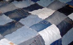 denim quilts | Hand Made Denim Blue Jean Memento Quilt