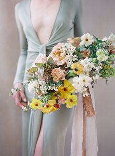Amy Osaba Events, Wedding Flowers, Green Yellow Brown Flowers Ethereal moments, Fine Art Film Photographer | Heather Payne Photography