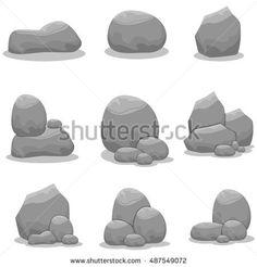 Stones set element vector art illustration collection stock