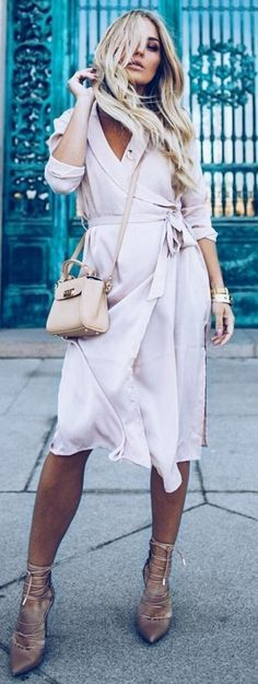 #summer #trending #outfits | Blush Wrap Slip Dress Source