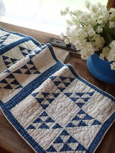 Tiny Pieces! Antique Blue & White Cats Cradle Quilt Table Runner 54x13 NG www.vintageblessings.com