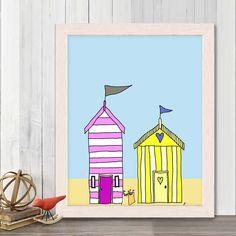 Beach hut art  Beach Huts 3 - beach hut print Nautical Nursery Decor art for kids room Beach Nursery Decor Nautical kids room navy wife gift