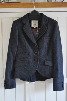 JACK WILLS 'Austerberry' Navy Tweed Wool Blazer Jacket, UK 8, BNWT in Clothes, Shoes & Accessories, Women's Clothing, Coats & Jackets | eBay