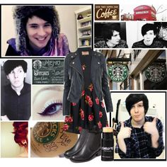 """""""starbucks with Dan & Phil"""" by annieisawallflower on Polyvore"""