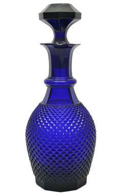 Bristol Blue Knob Pressed Glass Decanter