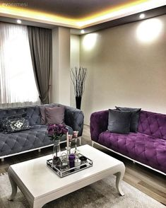 To add a sophisticated feel to her salon, Seval Hanım has preferred our luxurious fabrics in purple and gray harmony. The accessories that complement the decoration also complement the feeling. Silver vases, in purple. Living Room Grey, Living Room Decor, Classic Home Furniture, Sofa Design, Interior Design, Luxury Apartments, Luxury Living, Room Inspiration, House Design