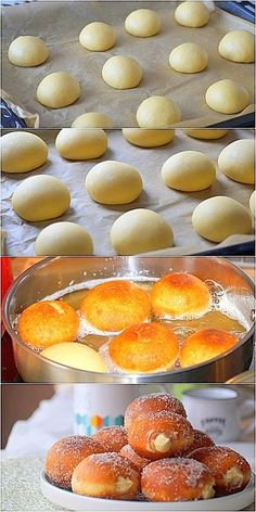 Italian donuts with pastry cream (bomboloni) You are in the right place about yummy Desserts Here we offer you the Vegan Dessert Recipes, Donut Recipes, Easy Desserts, Gourmet Recipes, Cookie Recipes, Pastry Recipes, Unique Desserts, Italian Donuts, Italian Pastries