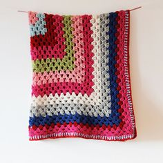 Granny square blanket - love the pink and green
