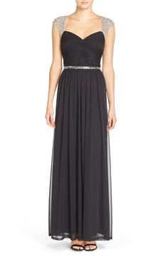 Adrianna Papell Embellished Ruched Jersey Gown