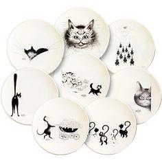 I have two of these pieces, love them!  Albert Dubout, Arts de la table : Vaisselle, collection Chats vus par Dubout