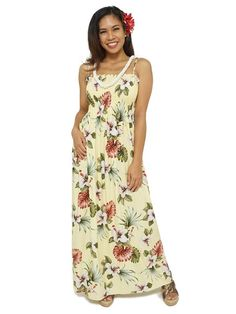 0ef56ff6742 Hibiscus   Monstera Light Yellow Rayon Hawaiian Elastic Strap Tube Long Dress  Hawaiian Dresses