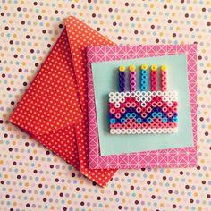 Happy Birthday card hama beads by alva_novo