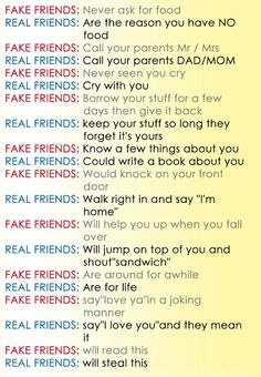 Awesome Quotes: Fake Friends vs Real Friends