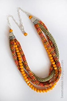 necklace tricotin   Crochet: I-cord / tricot�n   Pinterest by ginaska