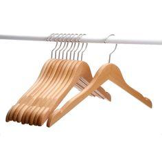 J.S. Hanger Solid Beech Wooden Coat/ Jacket Hangers with Polished Nickel-plated Hook/ Natural Finish (Set of 10 Hangers) (Natural Finish, Set of 10), Brown